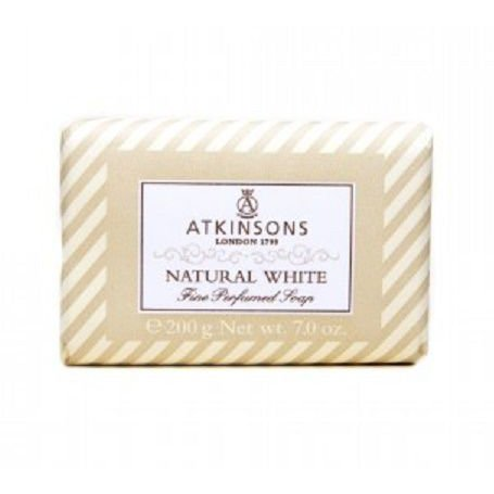 ATKINSONS <br> FINE PERFUMED SOAPS <br> NATURAL WHITE